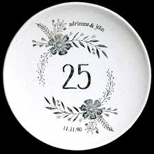 personalized anniversary plate personalized anniversary plate flower design