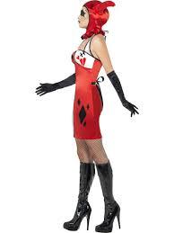 Halloween Jester Costume Cirque Sinister Jester Ladies Halloween Fancy Dress Medieval