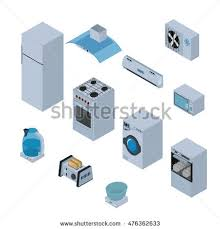 Microwave And Toaster Set Household Appliances Isometric Icons Set Refrigerator Stock Vector