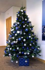 put a small blue and silver tree in the boys room with