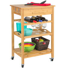 rolling wood kitchen storage cart rack with drawer u0026 shelves home