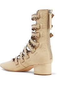yoox s boots filigree embossed laser cut leather ankle boots zimmermann