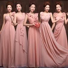 2016 peach pink bridesmaid dress floor length chiffon high