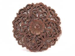 recycled teak wood carving wall decor hanging handmade