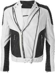 biker jacket sale balmain contrast panel biker jacket in black for men lyst