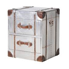 trunk style side table space industrial 2 drawer metal trunk side table