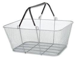 handle shopping baskets mesh rubber coated