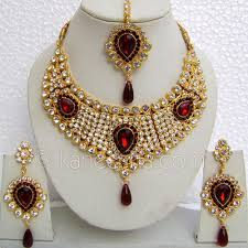 red stones necklace images Classic gold plated necklace set with red stones www jpg