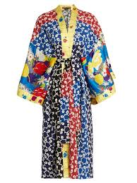 nina contrast panel silk and crepe kimono dress duro olowu
