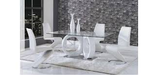 Hairy Rugs Dining Room White Modern Dining Sets With Z Shaped Chairs