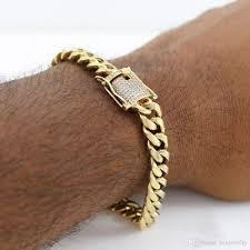 metal chain link bracelet images 10mm mens cuban miami link bracelet rhinestone clasp iced out gold jpg