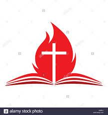 Flag With Bible Church Logo Open Bible Cross And Fire Stock Vector Art
