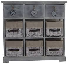 Storage Cabinet With Baskets Elloise 2 Drawer Cabinet With 6 Wicker Baskets Farmhouse