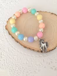 jewelry party favors pastel rainbow pearl unicorn beaded bracelet kids children