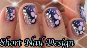 purple nails pink flowers nail art design youtube