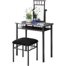 Vanity Tables With Mirror Monarch Vanity Set 2pcs Set Black Silver Metal Walmart Com