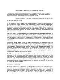 Business Process Reengineering Job Description Mahindra U0026 Mahindra U2013 Implementing Bpr Business Process Business