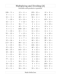100 horizontal multiplication division questions facts 1 to 15 a