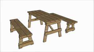 5 ft picnic table with benches plans youtube