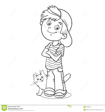 coloring page outline of a boy with his cat stock vector image