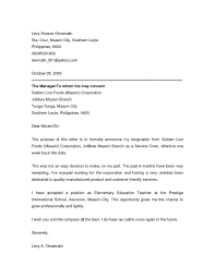formal letter of resignation resignation letter sample of from