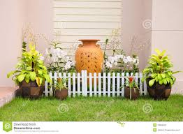 small house fence small home garden stock image image 19669031