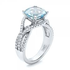 aquamarine wedding rings custom aquamarine and diamond engagement ring 100895