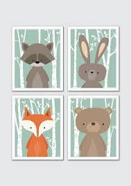 Woodland Animals Nursery Decor Woodland Animal Nursery Print Set Woodland Baby