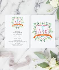 watercolor crest wedding invitation miss design berry