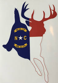 North Carolina Flag History North Carolina Whitetail Running Deer Flag Decal Sticker Small