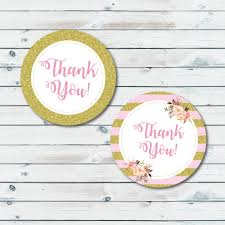 pink and gold thank you tags printable thank you tags baby