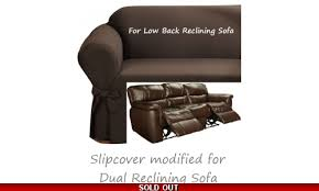 reclining sofa slipcover ribbed texture chocolate low back couch