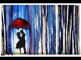 how to paint lovers under an umbrella in the rain youtube