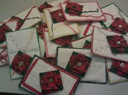 completed christmas fabric origami postcards be positive in life