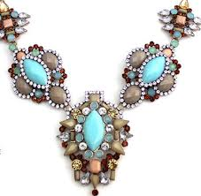 fashion high end statement light blue gem flower alloy bib