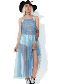 glamorous sapphire sheer ruffle dress dolls kill