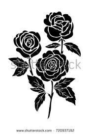 Black Rose Flower Isolated Black Rose Flower Tattoo Illustration Stock Vector