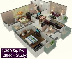 Modern House Plans 3 Bedrooms by 3d House Plans In 1200 Sq Ft Escortsea