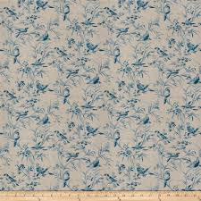 french general aviary toile linen blend vintage bleu from