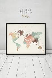 Large World Map Poster by Wanderlust World Map Watercolor Print World Map Poster Travel