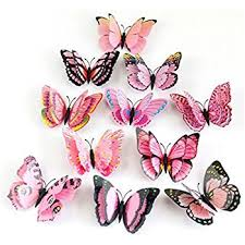amazon com pink and purple 24pcs 3d butterfly wall stickers decor