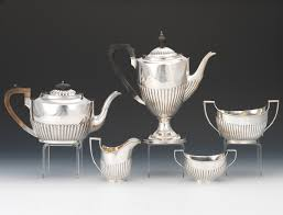 Queen Anne Style by A Five Piece Assembled English Sterling Silver Queen Anne Style