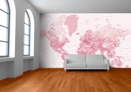 red pink world map by welk available from wallpapered com for custom map wall murals by wallpapered design milk