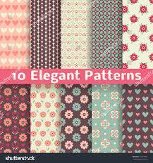 Elegant Colors 10 Elegant Romantic Vector Seamless Patterns Stock Vector