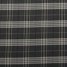 Black And White Check Upholstery Fabric Traditional Tartan Check Soft Twill Cotton Faux Wool Cushion