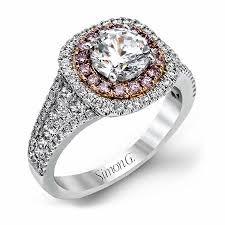 simon g engagement rings 1 00ct simon g 18k two tone gold halo engagement