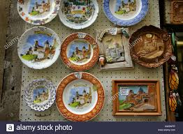 souvenir plates on sale in the walled town of carcassonne