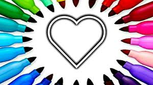 draw and color rainbow heart coloring page colouring pages book