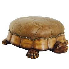 large leather and wood turtle ottoman for sale at 1stdibs