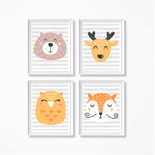 Kids Room Prints by Woodland Animals Set Of 4 Art Prints 8x10 Wall Printable Instant